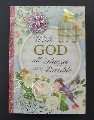 "POOCH & SWEETHEART 128 Page JOURNAL ""With GOD All Things Are Possible"" Bird Cage"