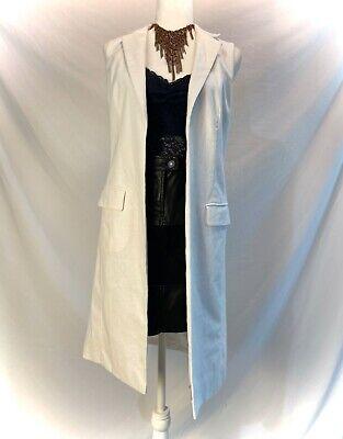 NEW MICHAEL KORS White Sleeveless Long Coat Oversize Faux Front Pockets, SZ 2