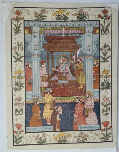 Original Miniature Mughal Style Indian Sikh Hindu Traditional Art Hand Painting