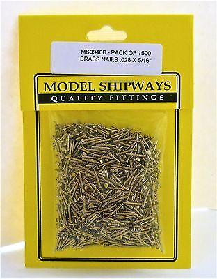 """Model Shipways Fittings MS0940B. Brass Nails .028X5/16""""(.7X8MM) 1500 Per Pack"""
