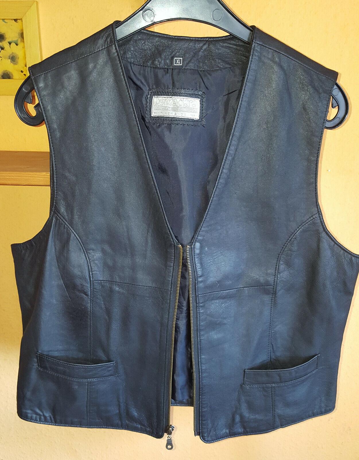 Damen-Lederweste,echtes Lammleder,schwarz,Größe XL