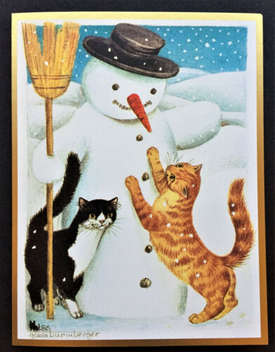 ONE Caspari Cat Xmas Card Tabby Tuxedo Snow Snowman Orange Gisela Buomberger