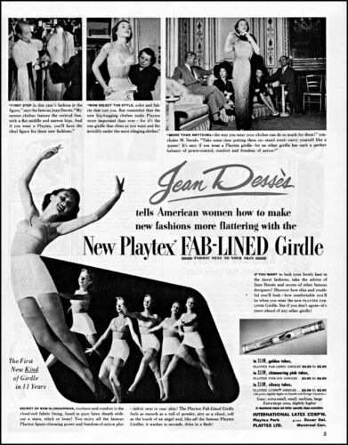 1950 women in undies Jean Desses Playtex girdle vintage photo print ad  adL56