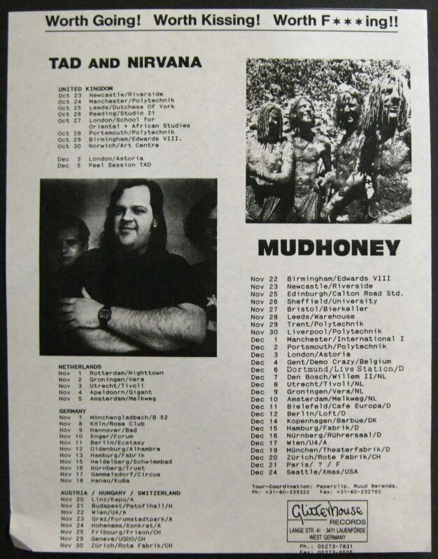 TAD NIRVANA MUDHONEY 1990 European Tour CONCERT Flyer ORG Glitterhouse COBAIN