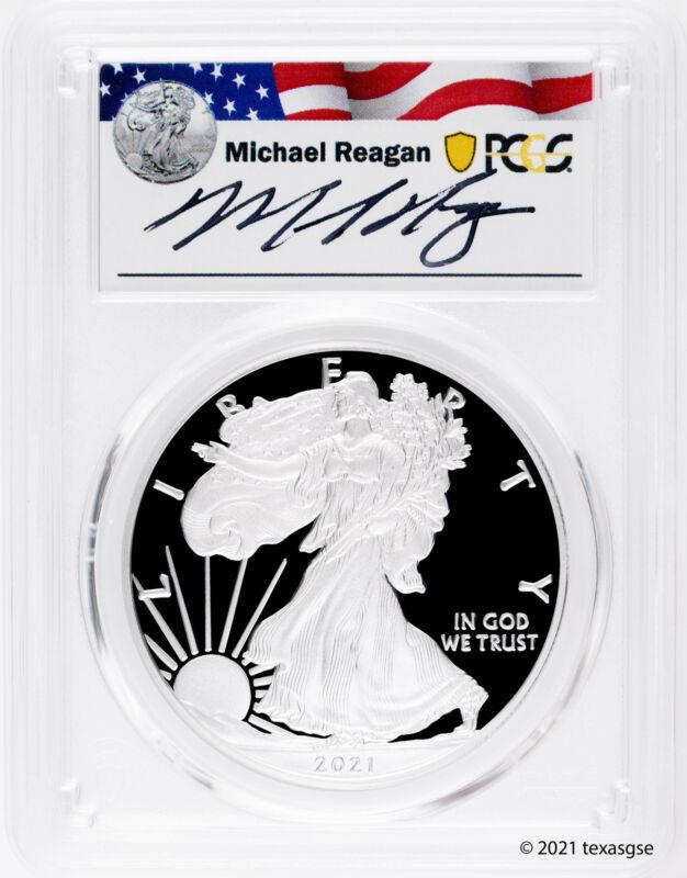 2021-W $1 American Silver Eagle Type I PCGS PR70 FDI - Michael Reagan Signature