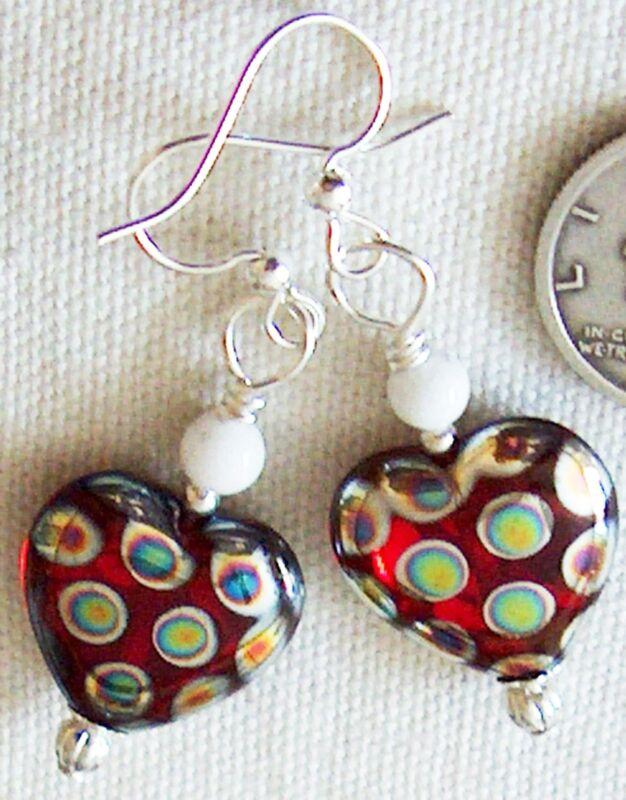 Red Polka Dot SnowBall Love Christmas Heart Earrings Kirsten USA Hand Made ~ Mom