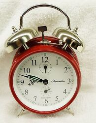ALARM CLOCK-  RUBY RED -DOUBLE BELL -MECHANICAL -MADE IN SERBIA