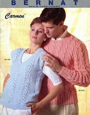 Bernat Knitting Pattern Book #552 Carmen - 3 Designs, Men, Women, Sweater, Vest - Knitting Pattern Men Vest