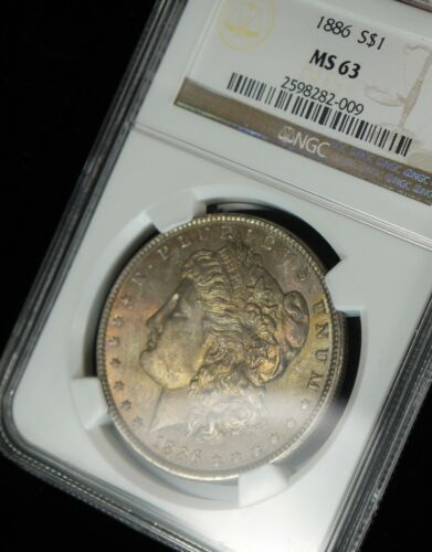 1886 Philly Pastel Toned Morgan Silver Dollar NGC MS63