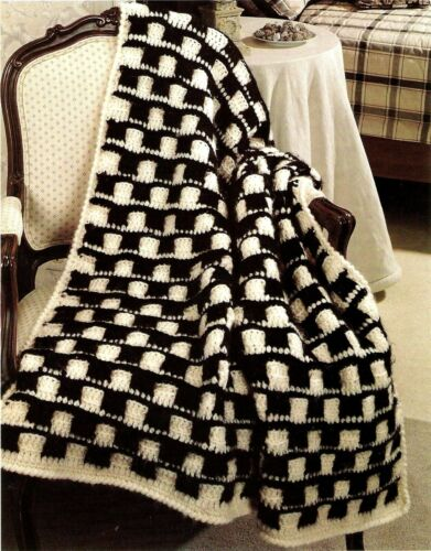 HANDSOME Checkmate Basetweave Afghan/Crochet Pattern INSTRUCTIONS ONLY