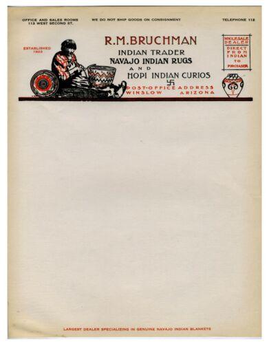 ARIZONA – R.M. BRUCHMAN INDIAN TRADER ILLUSTRATED TRADER LETTERHEAD - WINSLOW
