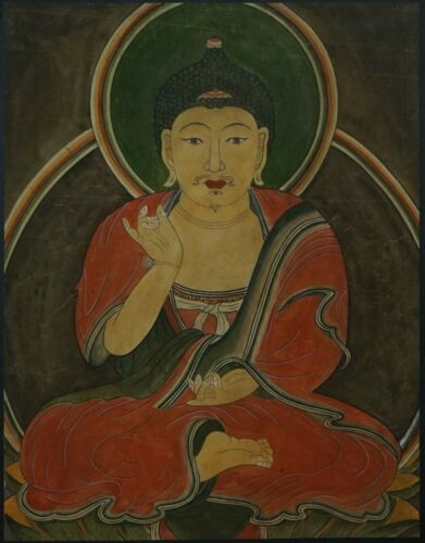 Very Fine Large Korean Joseon Dynasty Buddha Portrait on Jangji Paper