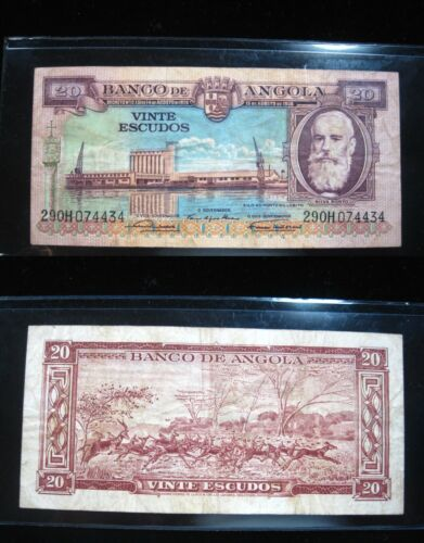 ANGOLA 20 ESCUDOS 1956 P87 AFRICA ANTELOPE 434# BANK CURRENCY BANKNOTE MONEY