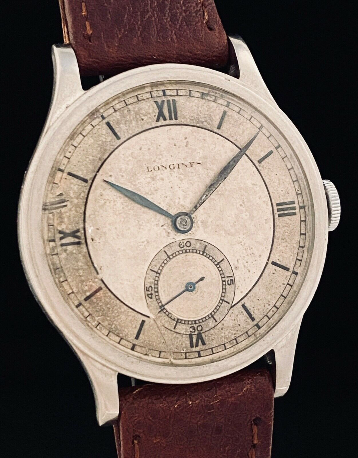 AWESOME 35mm LONGINES ArT DeCO STAINLESS Steel SECTOR DIAL Vintage WATCH 12.68z! - watch picture 1