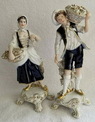 Royal Dux  Bohemia Pair of Porcelain Figurines Cobalt blue Grape PIckers. RARE