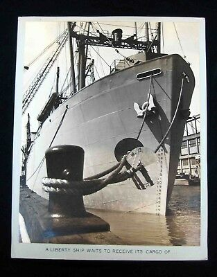 1940s Edw STEICHEN-type Silver PHOTOGRAPH - LIBERTY SHIP LASHED TO DOCK Scene