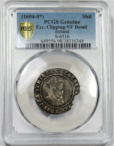 1604-07 IRELAND S-6516 PCGS VF Detail Silver 1 Shilling World Coin #21687A