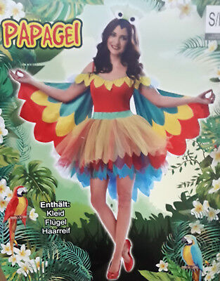 B-Ware Frauenkostüm Papagei Kostüm Frauen Karneval Fasching Halloween - Papagei Kostüm