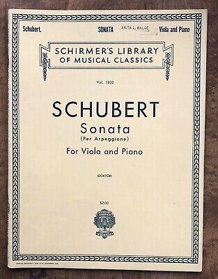 Schubert Sonata Arpeggione Viola & Piano Doktor Schirmer Sheet Music Book ()