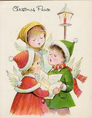 Vintage 1980s Christmas Card Angels Caroling Lamp Post Children Ephemera USED