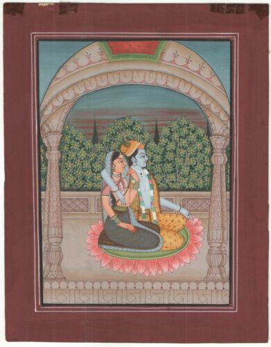 Radha+%26+Krishna+Symbol+Of+Love+Miniature+Painting+Watercolor+Old+Paper+Painting