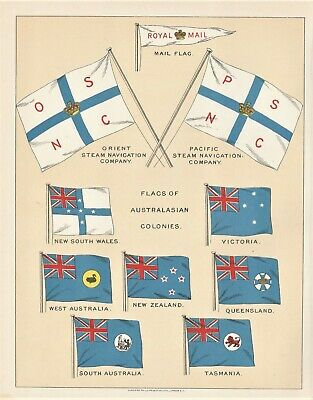 Flags of Austalasian Colonies and others c1900 by Sanders Phillip