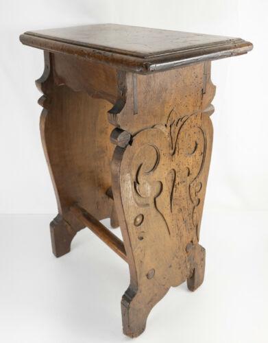 Antique 17th/18th Century Italian Walnut Side Table Gothic Renaissance Revival