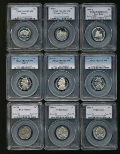Lot of ~9  PCGS Certified Jefferson Nickels Nice Group                       y