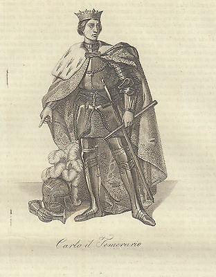 Carlo il temerario 1842 incisione in rame