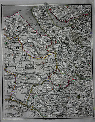 Original antique map CHESHIRE, LIVERPOOL, CHESTER, WARRINGTON, WALES, Cary, 1794
