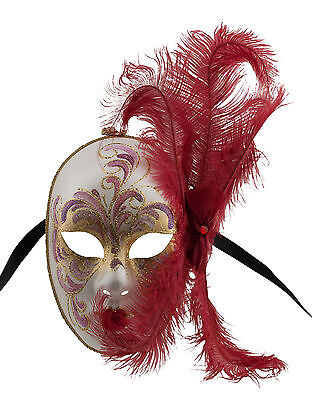 Mask from Venice Face Volto in Feathers Ostrich Golden Red Mask Venetian 1410