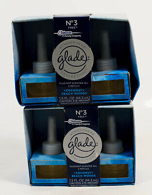 2 Glade PlugIns COCONUT BEACH WOODS scented Oil No 3 FREE = 4 Refills NIB 2 Glade Scented Oil