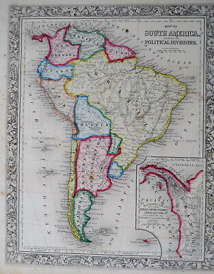 MAP of SOUTH AMERICA 1860 Hand Colored