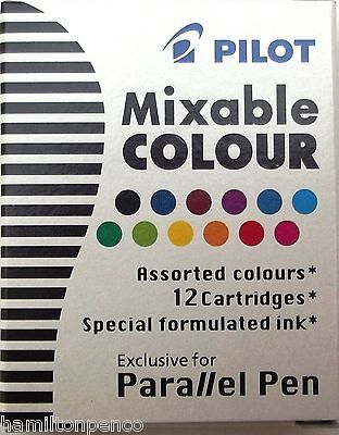 Pilot Parallel Pen Ink Cartridges - Box Of 12 Assorted Colours