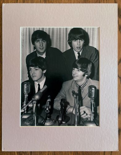 Rare Vintage 8x10 matted Photo of The Beatles - 1964 Boston Press Conference