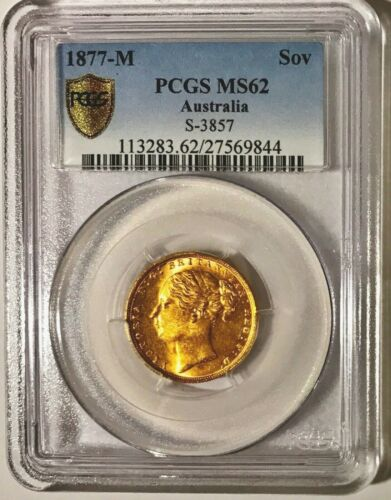 1877 M Gold Sovereign PCGS MS62 Young Head, Spectacular Eye Appeal,  Better Date