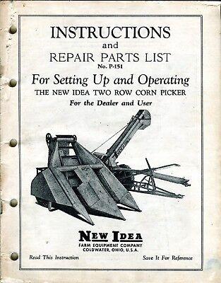 Original Oem New Idea P-151 Two Row Corn Picker Repair Instructions Parts Manual