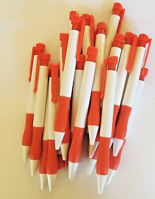 10 New Red Cylinder Ballpoint Pens Ink Black