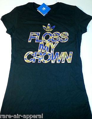 ADIDAS ORIGINAL TRE-FOIL CROWN MY FLOSS BLACK/GOLD/PINK WOMENS CUT TEE T-SHIRT  ()
