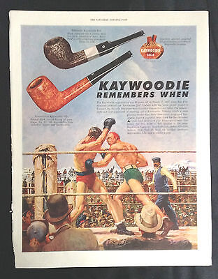 1947 Vintage Corbett Fitzsimmons Boxing Print Kaywoodie Pipe Ad a/s Norman Price