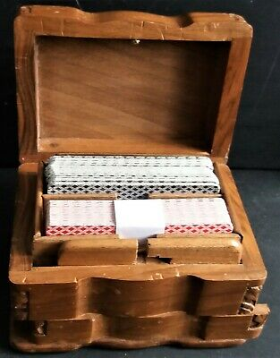 Hand  Carved Wooden  Twin Set Playing Cards Box