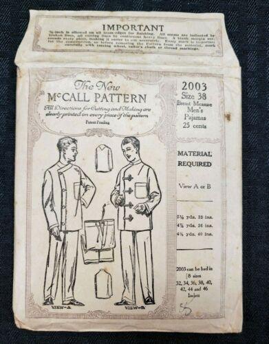 Antique 1920s McCall Pattern 2003 Size 38 Men