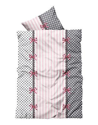 4 tlg Flausch Bettwäsche 135x200cm Garnitur rosa grau Thermofleece NEU
