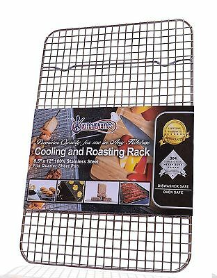Kitchenatics 100% Stainless Steel Wire Cooling and Roasting Rack Fits Quarter...