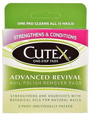 Step Nail Polish Remover Pads - Cutex One-Step Pads, Advanced Revival Nail Polish Remover Pads, 3 count New