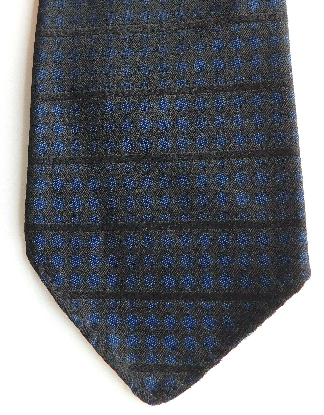 Fortnum & Mason silk tie blue black check vintage good quality English mens wear