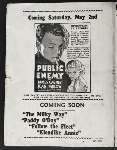 "1931 CAGNEY & HARLOW ""PUBLIC ENEMY"" CHICAGO MOVIE THEATRE HERALD"