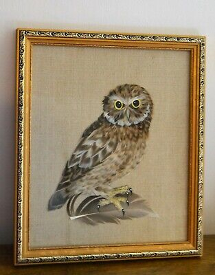 Little Owl Collage Made Out of Feathers by Liisa Robinson - Framed & Glazed