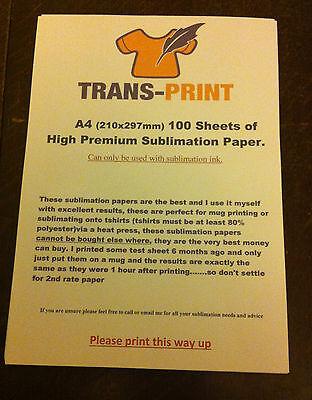 Sublimation Paper 100 Sheets A4 210mm X 297mm Heat Pressmugstransfert-shirt