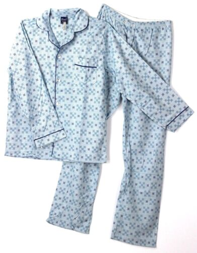Vintage 1970s NWT Mens Flannel Pajamas S Blue Checks PJs Piping by Firenze NOS